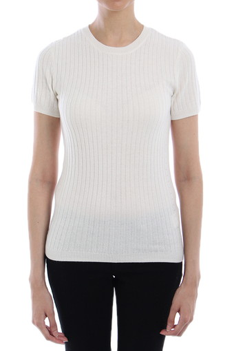 RIB FALLON SWEATER TEE /POWDER WHITE