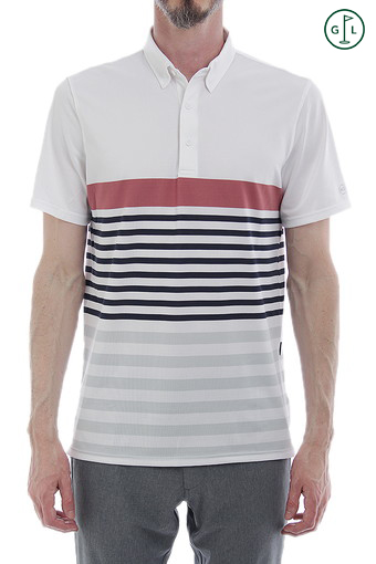 DOWNEY STRIPE POLO/BRIGHT WHITE/RUSTIC RED/CAVIAR/MORNING GREY