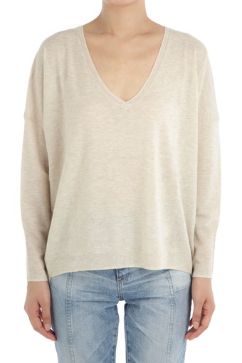 SHAYLA V NECK/HEATHER SAND