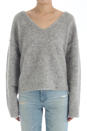 SKYE V NECK SWEATER/HEATHER GREY
