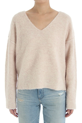 SKYE V NECK SWEATER/IVORY HAZE