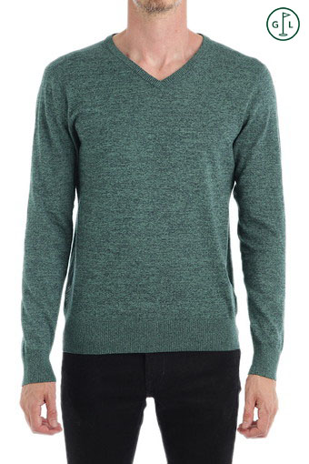 THE RIDGEWOOD V-NECK/TURF W/NVL BL MELANG
